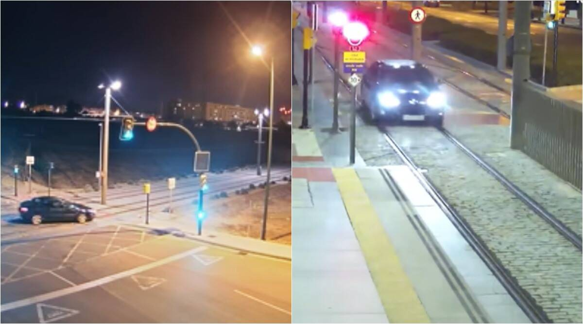 drunk driver drives on train tracks, spanish woman drives on tracks, drunk driving, drunk driving funny videos, indian express, viral videos, viral news