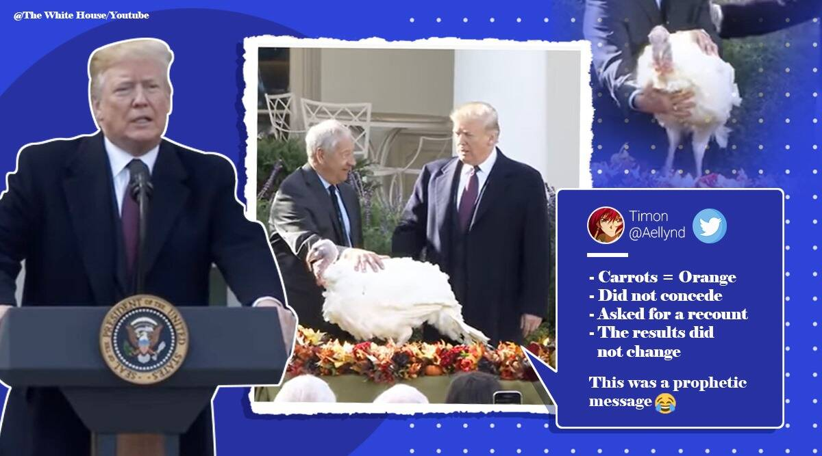 donald trump, turkey pardon, trump 2018 turkey refused to concede, trump jokes turkey refuse to concede, 2018 turkey pardon video, viral news, funny news, indian express