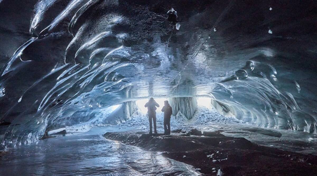 Ice cave, Ice cathedral, Swiss Alps, Swiss Alps glaciers, Mill ice cave, Mill ice cathedral, Natural ice caves, Les Diablerets, Switzerland, Trending news, Indian Express news.
