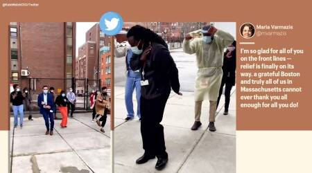 COVID-19, Coronavirus, Vaccine, COVID-19 vaccine, Boston Medical Center, health workers COVID-19 vaccine arrival, celebratory dance, Vaccine arrival dance, Lizzo Good as Hell dance, Health workers Lizzo Good as Hell dance, Viral video, Trending news, Indian Express news.