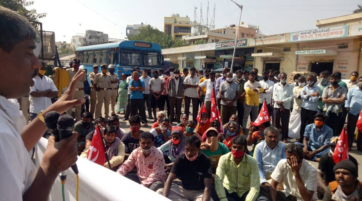 Karnataka: APMC traders hold day-long protest against farm laws, hike in market fee