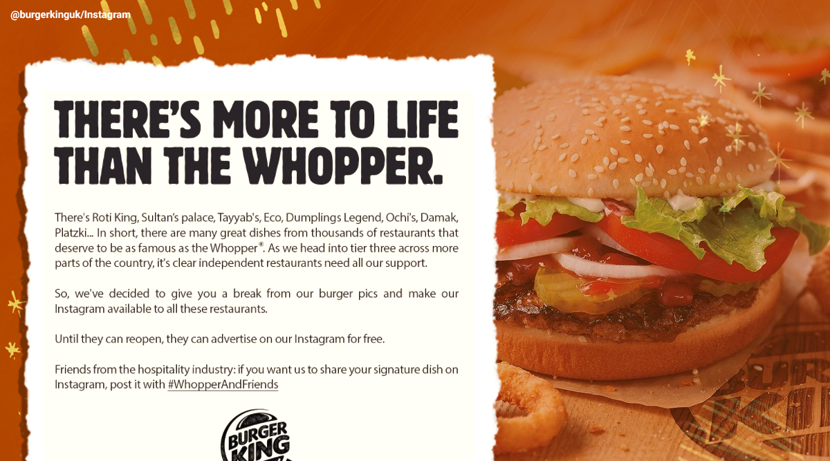Burger King UK, Instagram, Burger king local eaters support, Whopper And Friends campaign, WhopperAndFriends, Burger King UK campaign, Burger King UK Instagram campaign, Indian Express news, Trending news