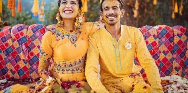 dhanashree verma and yuzvendra chahal haldi ceremony photos