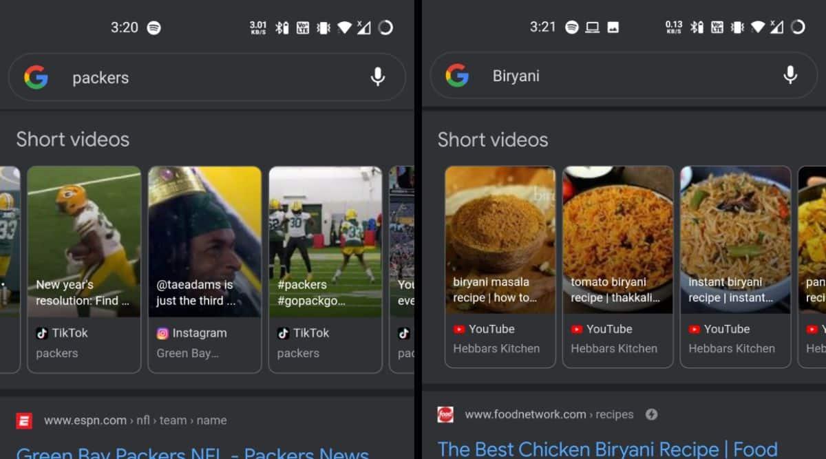 Google Tests 'Short Video' Carousel of Instagram, TikTok Clips