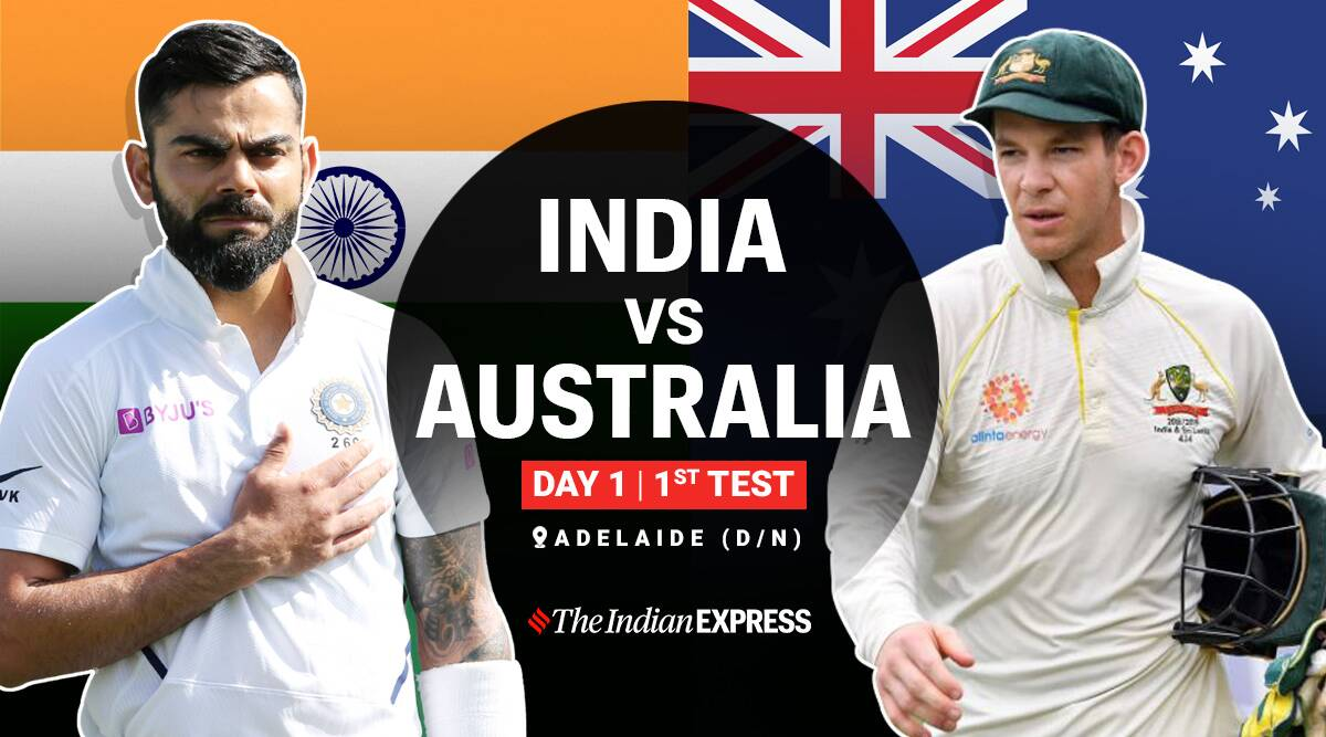 India Vs Australia 1st Test Day 1 Highlights Kohli Pujara Rahane Show Strong Fight Under Pink Ball Barrage Sports News The Indian Express