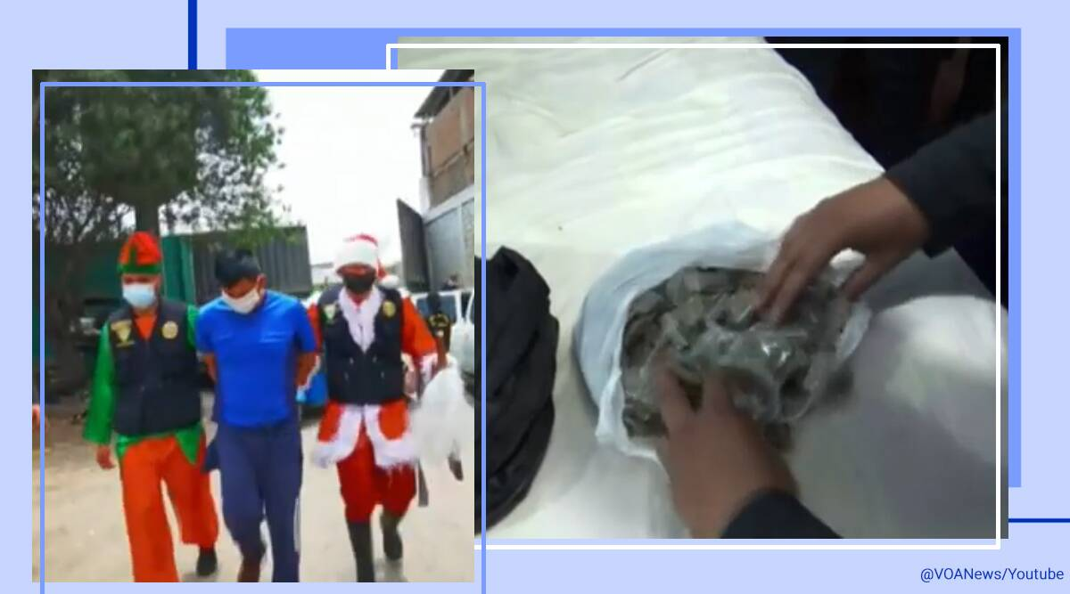 Peru, Lima, Undercover cops, Cops dressed as Santa Claus and elf, Undercover cops drug bust, Santa Claus and elf police officers, Anti-drug operation  Peru, Undercover anti-drug operation, Undercover drug bust, Trending news, Indian Express news.