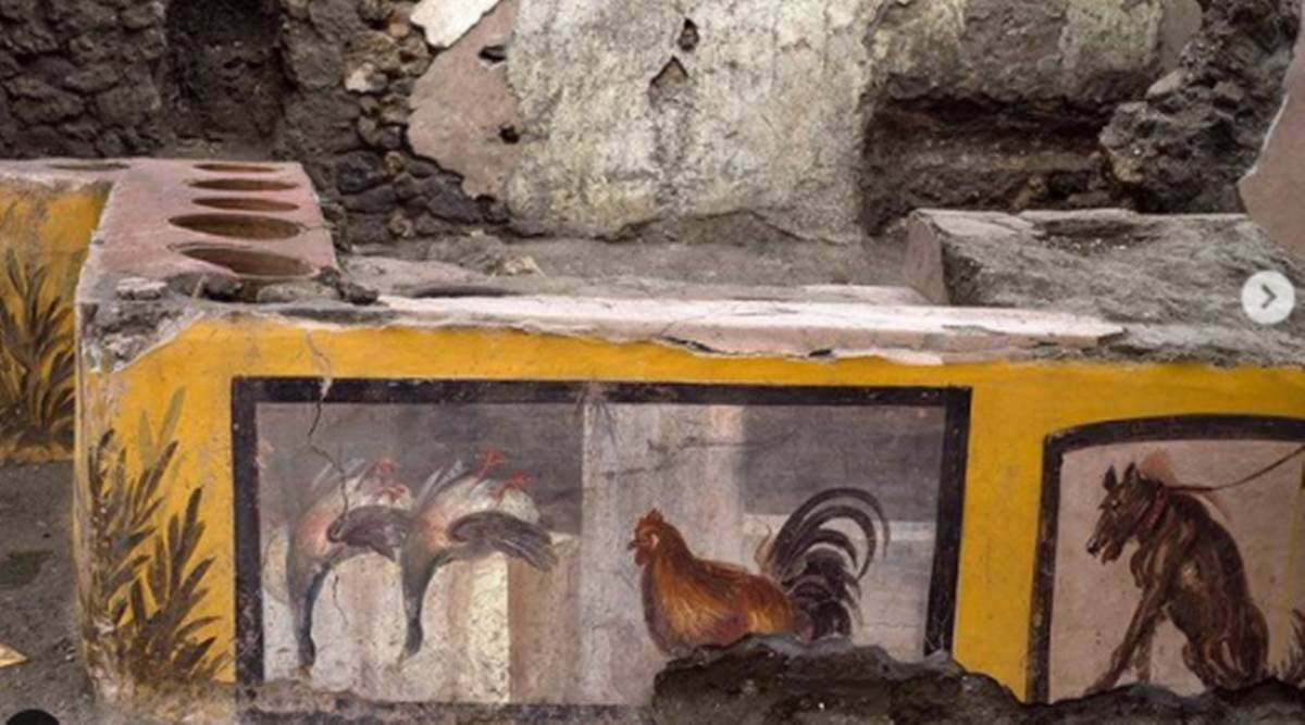 Pompeii, archaeological project in Pompeii, Roman era food stall in Pompeii, archaeological site Pompeii, Pompeii Italy, indian express news