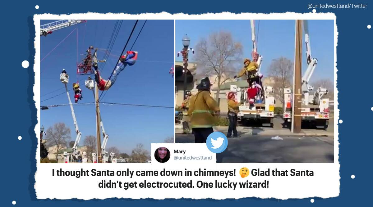 Santa Claus, Paragliding Santa Claus, Power lines, Santa Clause rescue, California, Santa Clause rescue paragliding rescue viral video, Santa cause rescue viral video, Sacramento, Sacramento Santa rescue, Trending news, Indian Express news