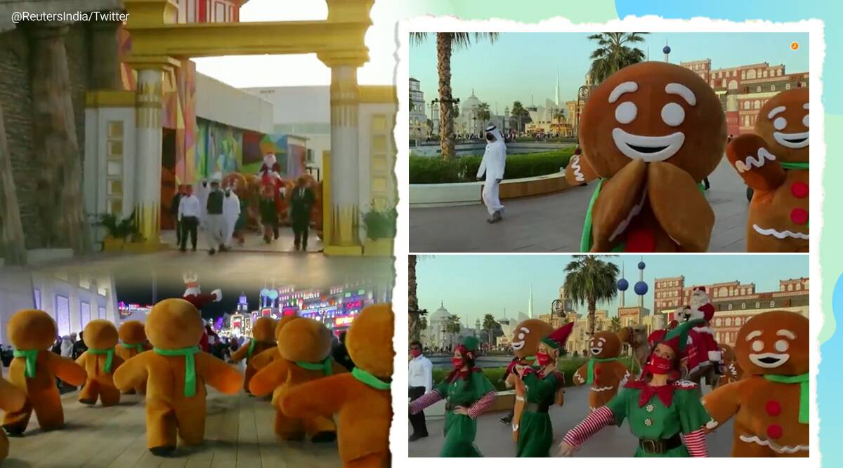 Santa Claus, Dubai, Global Village, Camel, Christmas 2020, Christmas celebration Dubai global village, Santa Claus riding camel, Trending news, Viral video, Indian Express news.