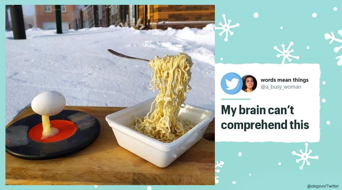Siberia, Siberia temperature, Siberia winters, Frozen noodles and egg, Siberia temperature today, Winter season, Frozen noodles and egg, Twitter, Trending news, Indian Express news.