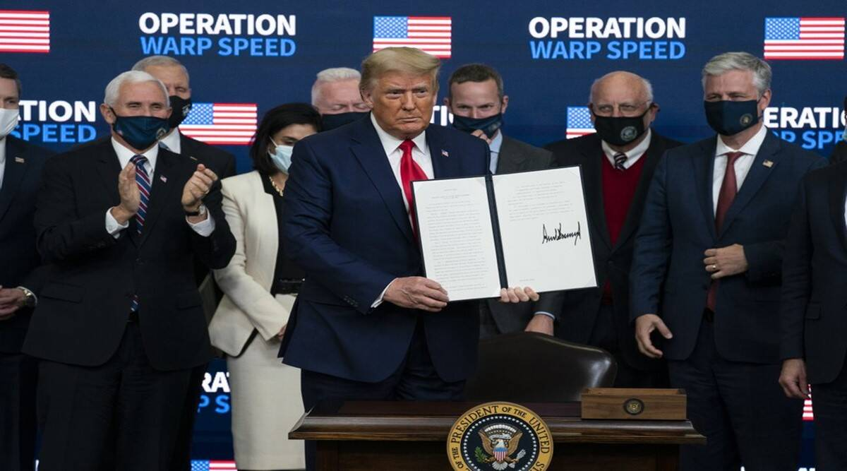 Donald Trump, trump on covod vaccine, pfizer, Moderna, COVID-19, United States Food and Drug Administration, Mike Pence, Joe Biden, world news, Indian Express News