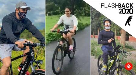 cycling benefits, cycling celebs, celebrities who cycled in 2020, yearender 2020, cycling yearender 2020, indianexpress.com, indianexpress, sachin tendulkar news, salman khan news, karishma tanna news, ayushmann khurana cycling, daisy shah, sara ali khan news,