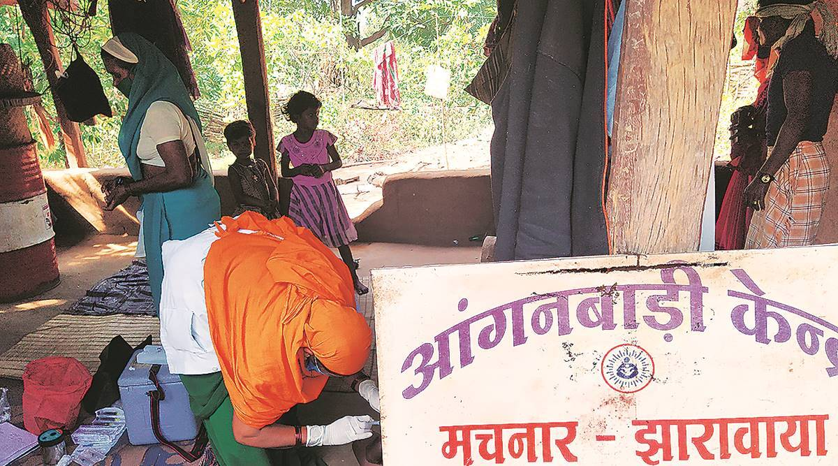 310 km from Raipur, a trek of half-a-day with vaccine, hoping to catch tribals in time