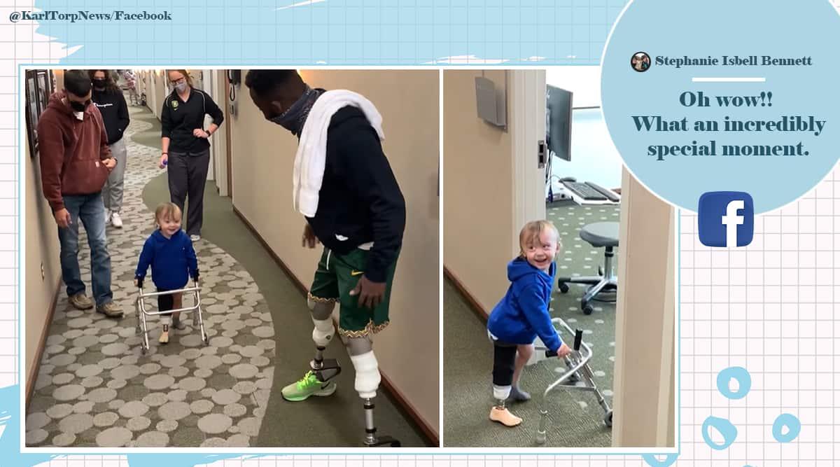 Paralympian Medalist Blake Leeper, Paralympian Medalist Blake Leeper helps two year old, Blake Leeper viral video, trending, indian express, indian express news