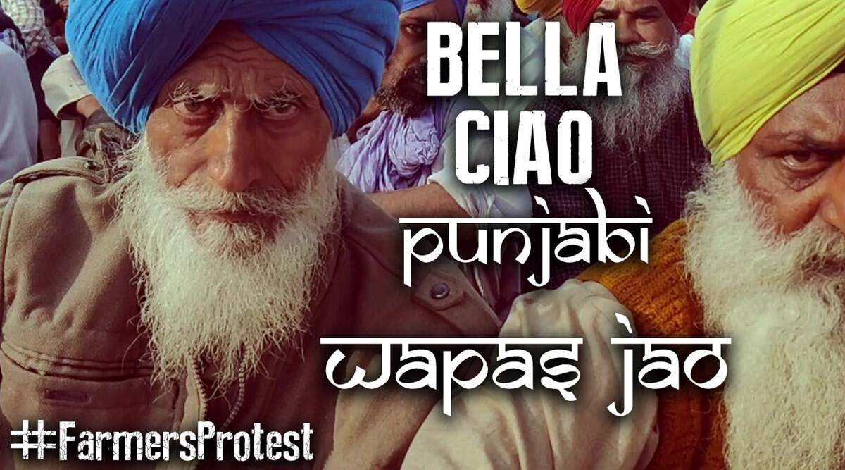 bella ciao song, farmers protest bella ciao song, bella ciao punjabi version, farmers protest, singhu border farmers protest, anti farm bill protest, viral videos, indian express
