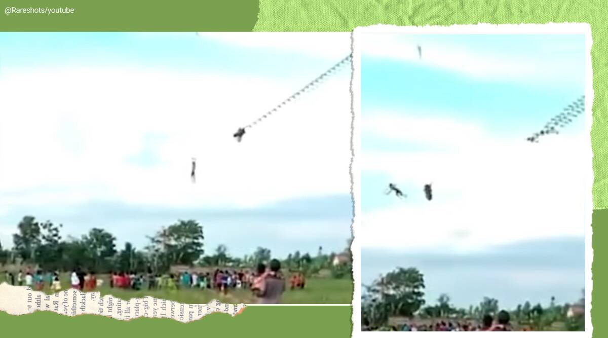 Indonesia, Indonesia kite, Indonesia dragon kite 12-year-old, boy lifted in air kite viral video, swept into the air by a kite, trending, indian express, indian express news