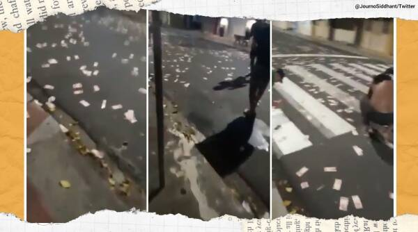 Brazil, Brazil robbery, armed bank heist Brazil, cash scattered on road, money heist, cash on road viral video, trending, indian express, indian express news