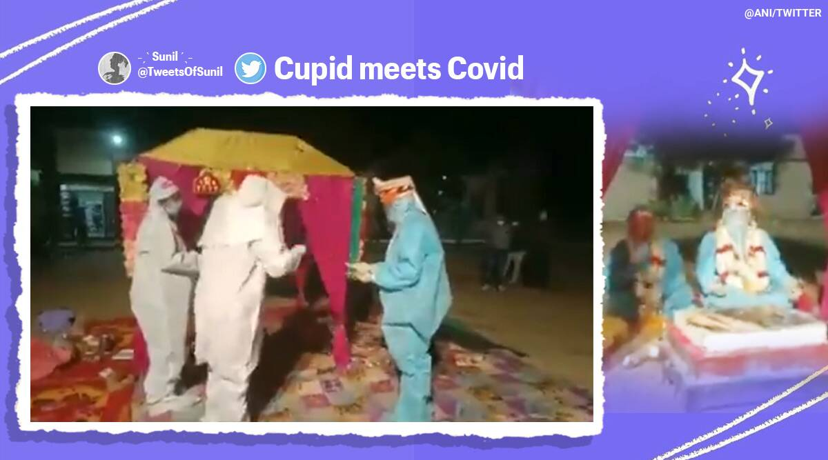 covid positive bride wedding, rajasthan couple marry in ppe suits, couple wedding ppe suits, rajasthan, covid 19, covid wedding, viral videos, indian express