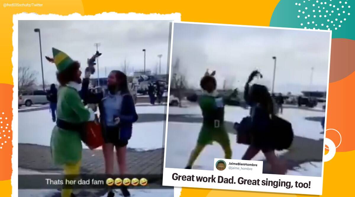 Christmas, buddy the elf, father dresses up as elf, father daughter viral video, Christmas eve, viral video, trending, indian express, indian express news