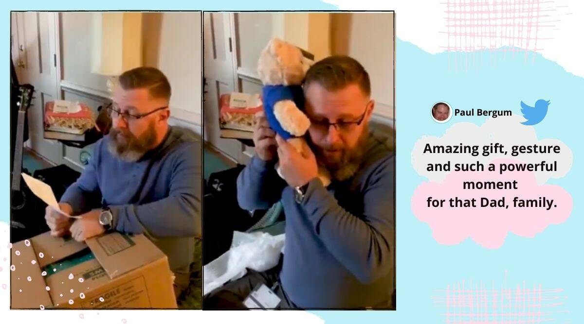 teddy bear with late son's heartbeat, teddy bear heartbeat recording, father reaction, organ donation, viral video, Indian Express news.