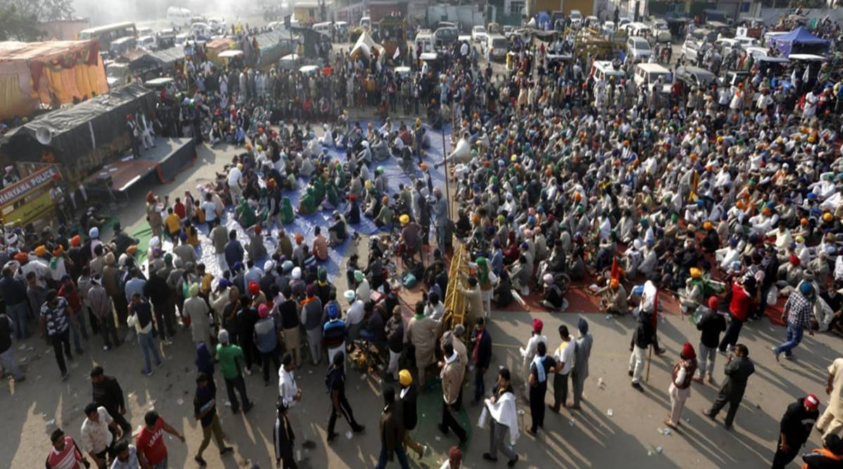 Farmers protest at Delhi border