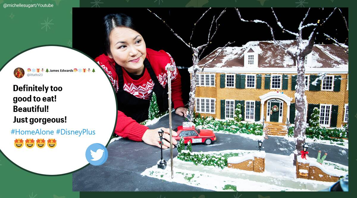 gingerbread house, house made of gingerbread, gingerbread McCallister house, Macaulay Culkin, gingerbread version of Home Alone movie house, gingerbread home alone house, Home Alone, Home Alone movie, 30 years of Home Alone, Home Alone 30th anniversary, Michelle Wibowo, Disney+, Michelle sugar art, Trending news, Indian Express