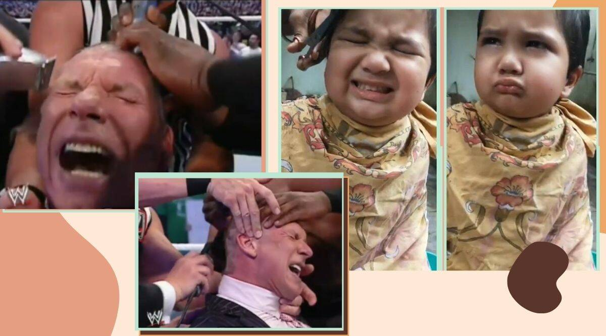 child upset with haircut, angry kid haircut video, kid angry over haircut video, Anushrut hair cut video, viral video, cute baby haircut videos, angry kid haircut spoof, angry kid haircut trump spoof, Trending news, indian express news