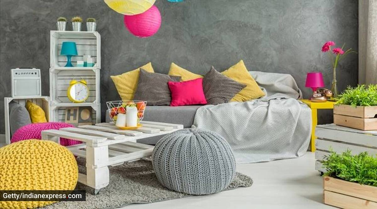 yellow and grey colour, pantone colour of 2021, indianexpress.com, indianexpress, pantone colour of the year, colours, kitchen entrance, colour blocking, how to incorporate colour of the year in one's interiors, kitchen interiors, office interiors, colour of the year, pantone brand,