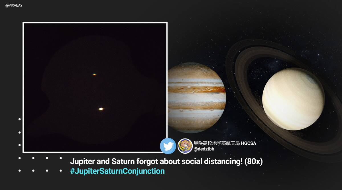 Jupiter Saturn Conjunction, The great conjunction, winter solstice great conjunction, Jupiter Saturn Conjunction pictures, Jupiter Saturn Conjunction videos, Jupiter Saturn close to each other, Jupiter Saturn double planet, Jupiter Saturn alignment, Jupiter Saturn Conjunction Twitter reaction, jupitersaturnconjunction, Trending news, Indian Express news