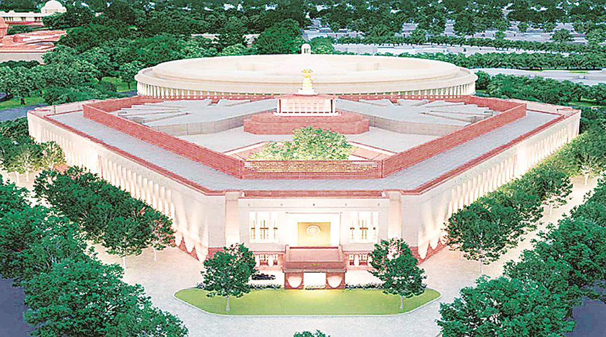 parliament, new parliament building, pm modi, pm modi parliament building foundation stone, parliament building delhi, indian express news