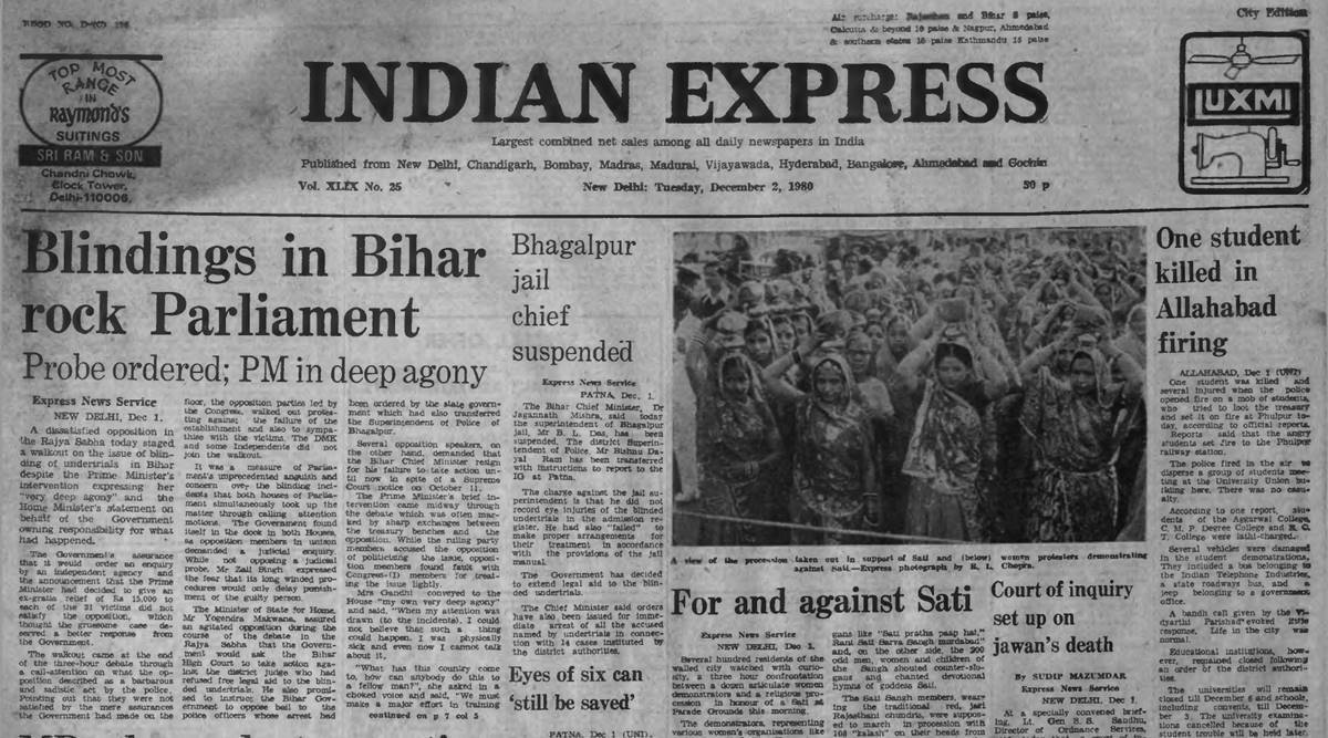 Bihar Blindings undertrials, Bihar convicts blined, Blindings Blindings, 1980 Bihar Opposition walkout, Forty Years Ago, Indian express news