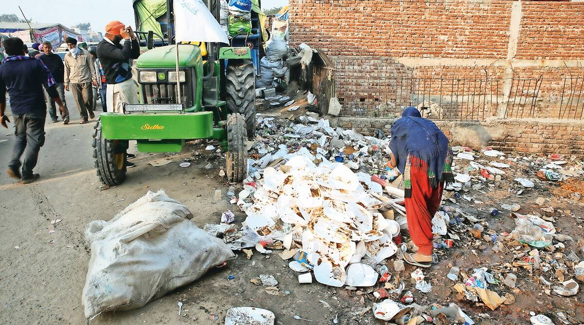 Farmers protest site, solid waste at protest sites, Singhu border, Tikri border, Delhi news, Indian express news