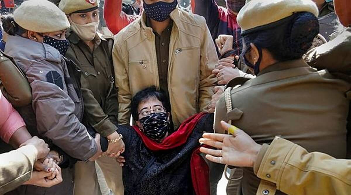 AAP leaders detained, Delhi protest, Atishi detained, Raghav Chadha detained, North Delhi Municipal Corporation corruption, Delhi news, Indian express news