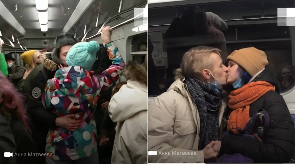 russia covid restrictions, russia kissing protest, group kissing protest in russian metro, Yekaterinburg metro kissing protest nightlife, odd news, bizarre news, indian express