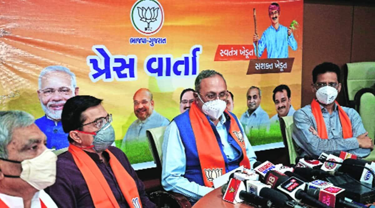 Gujarat Energy Minister, Saurabh Patel, farm bills, congress, bjp blames congress for farmers protest, indian express news