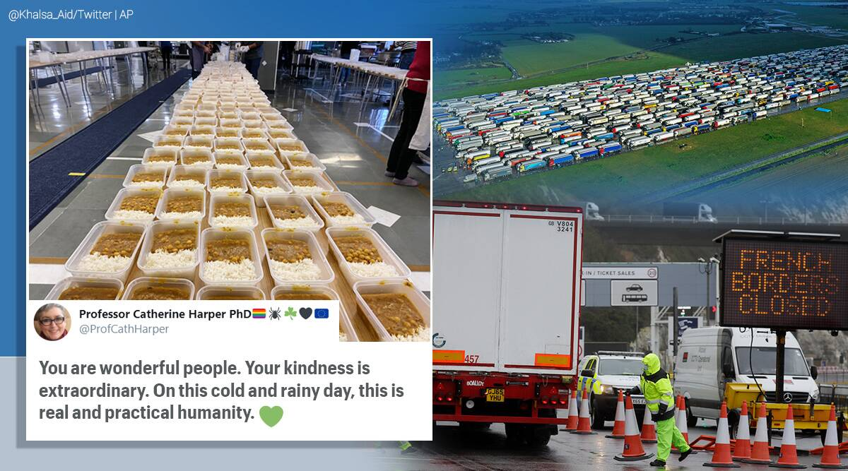 covid new strain, uk france border sealed, uk france border truck drivers, stranded truck drivers food, langar for stranded uk truck drivers, khalsa aid truck drivers covid ban, indian express