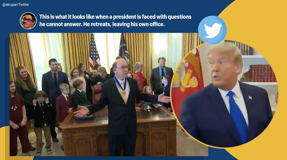 Donald trump, Dan Gable, Dan Gable medal of freedom, trump walk out Dan Gable ceremony, Dan Gable trump medal ceremony, viral news, indian express