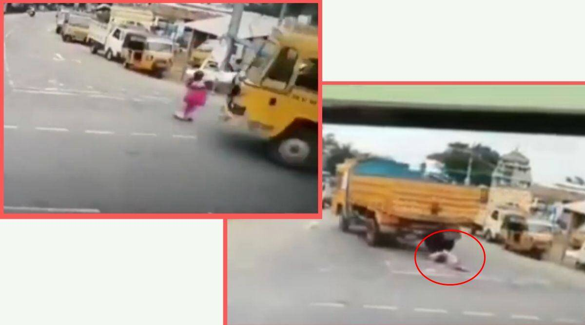 Tamil Nadu, Tamil Nadu woman truck viral video, woman runover by truck escapes unhurt, woman trending viral video, Tamil Nadu news, indian express, indian express news