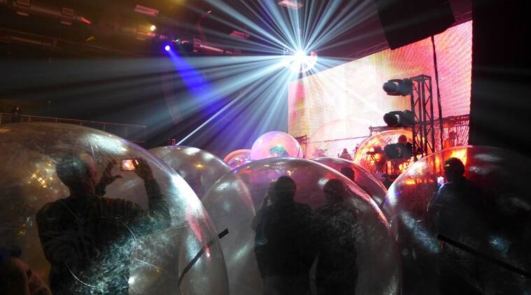 The Flaming Lips, The Flaming Lips concert, The Flaming Lips socially distanced concert, Oklahoma, USA, space bubble, The Flaming Lips space bubble concert, COVID-19, Coronavirus, Music concert during pandemic, Coronavirus and music concert, Viral video, Trending news, Indian Express news.