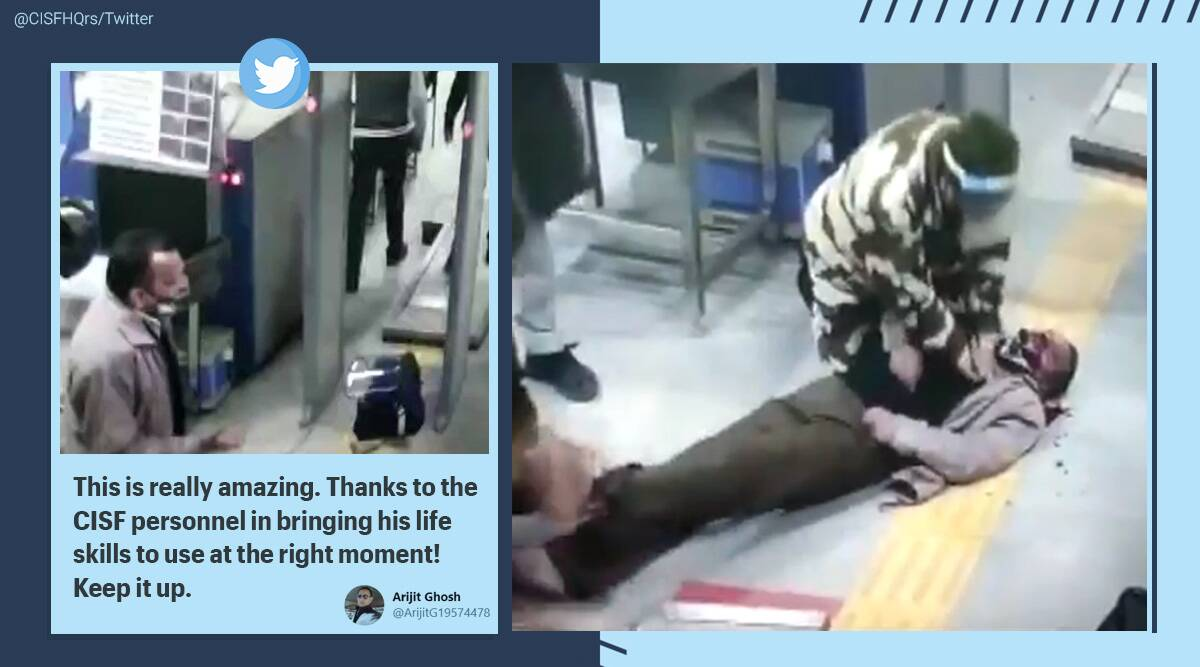 CISF personnel, CPR, CISF personnel man collapsed, Delhi Metro station, Man collapse at Dabri More Metro Station, Viral video, Trending news, Indian Express news.