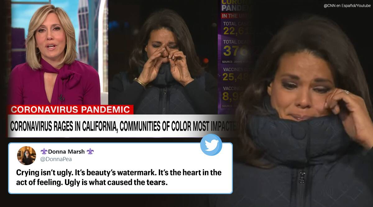 Reporter crying on live tv, CNN Sara Sidner, Reporter crying during live telecast, reporter cries during covid-19 death reports, CNN anchor crying on live TV, COVID-19 live updates, COVID-19 and people of colour, COVID-19 death US, Trending news, Indian Express news.