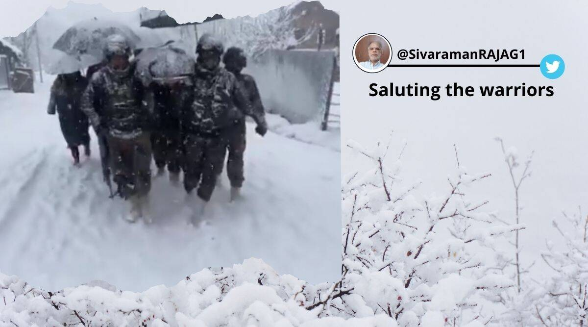 Indian Army, Indian Army help woman and newborn, Indian Army carries woman and newborn on stretcher, Indian Army rescues woman and newborn, Kashmir, Kashmir snowfall, Viral video, Trending news, Indian Express news.