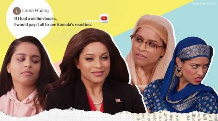 Lilly Singh cousins with Kamala Harris, YouTube, Lilly Singh latest YouTube video, Lilly Singh A Little Late with Lilly Singh, Lilly Singh Kamala Harris, Trending news, Indian Express news.