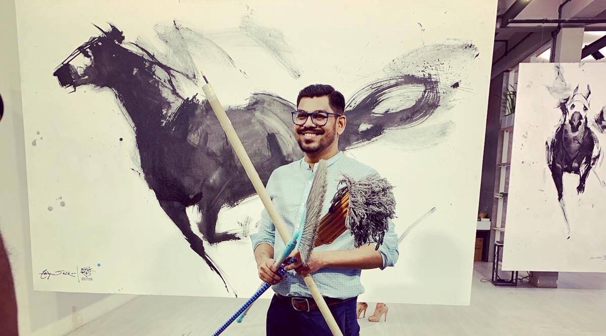 Key weapons in Covid fight, brooms, floor mops now find voice on canvas