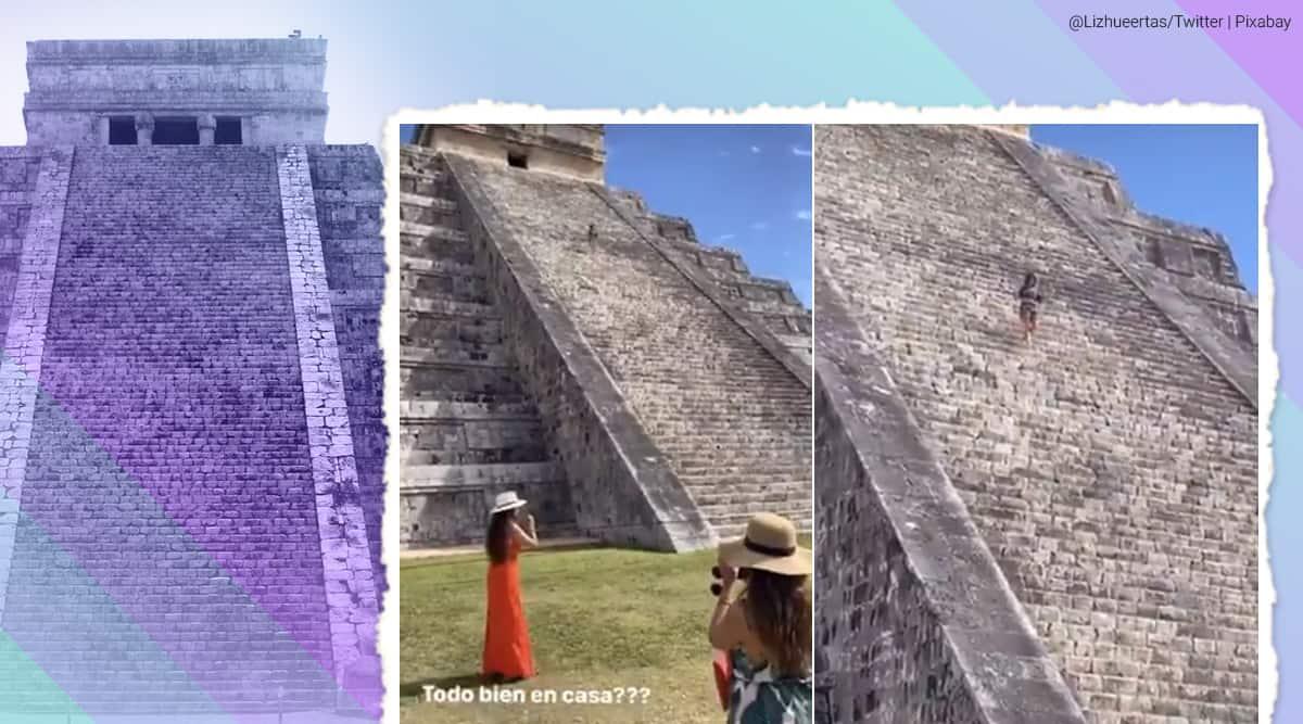 El Castillo, El Castillo trespass, El Castillo California tourist, Woman enters Mayan temple, Chichén Itzá, Mayan temple trespass Mexico, California tourist trespass Mayan temple Mexico, Mexico Mayan temple, step pyramid trespass, Kukulcan lady, INAH, Trending news, Indian Express news.