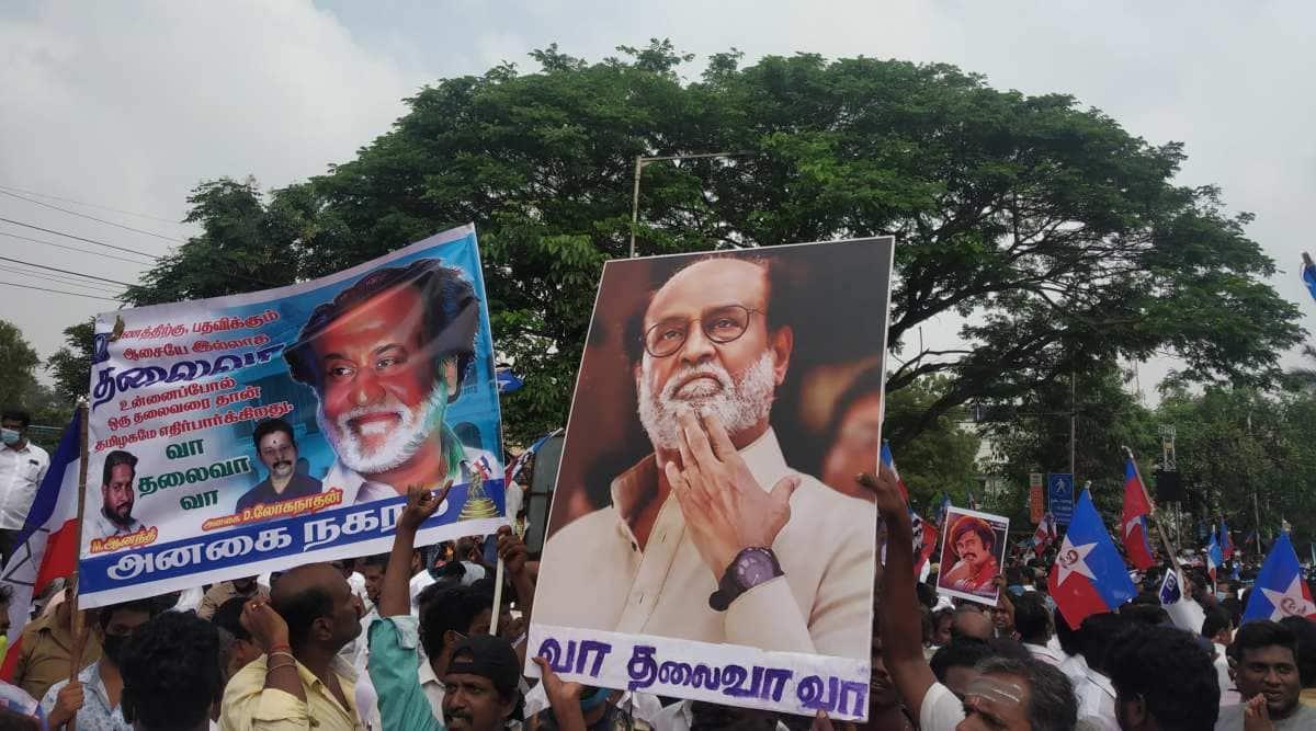 Rajinikanth, Rajinikanth fans, protest against Rajinikanth leaving politics, Rajinikanth party, Rajini Makkal Mandram, Tamil nadu news, Chennai, India news, Indian express