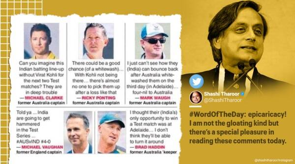 Shashi Tharoor, Epicaricacy, India vs Australia test series, Shashi Tharoor word of the day, Epicaricacy word meaning, Shashi Tharoor words, Epicaricacy in a sentence, Epicaricacy meaning, Trending news, Indian Express news.