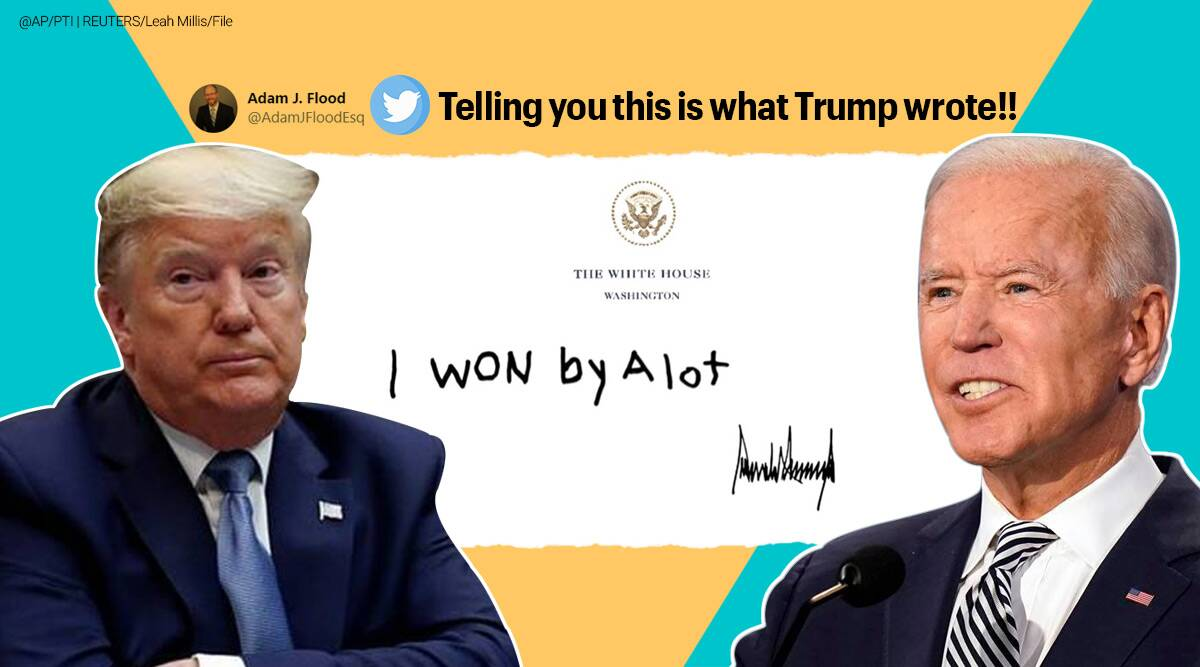 Donald Trump, Trump's letter, Trump's letter for Biden, Trump's letter for Biden memes, Trump's letter for Biden speculation, Trump's letter for Biden Twitter reaction, Joe Biden, Twitter speculation, Biden inauguration day, US presidential inauguration, Trump-Biden feud, Trump's note for Biden, Trending news, Indian Express news