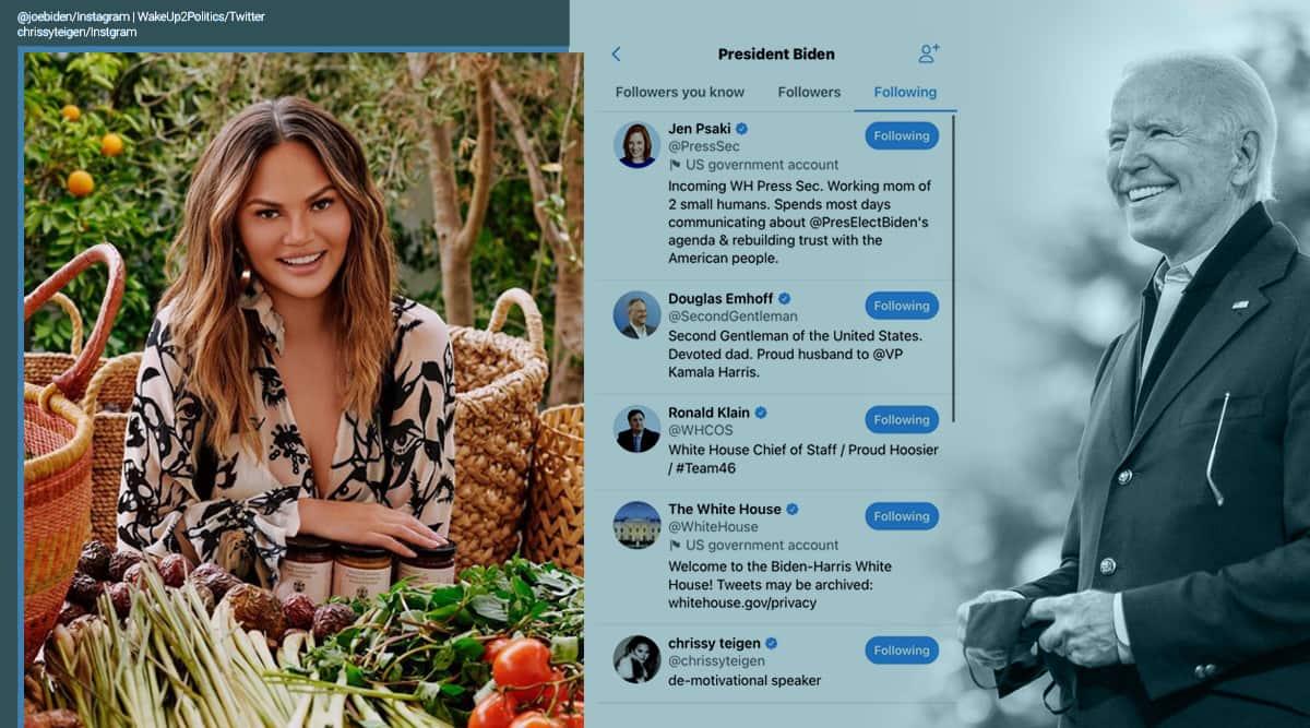 Joe Biden, @POTUS Twitter, Joe Biden Twitter account, Joe Biden follows Chrissy Teigen, Joe Biden Twitter follow, Donald Trump, Trump legacy, Trending news, Indian Express news
