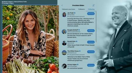 Joe Biden, @POTUS Twitter, Joe Biden Twitter account, Joe Biden follows Chrissy Teigen, Joe Biden Twitter follow, Donald Trump, Trump legacy, Trending news, Indian Express news
